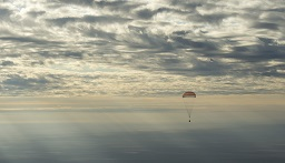 The Soyuz MS-01 spacecraft is seen as it lands with Expedition 49 crew members NASA astronaut Kate Rubins, Russian cosmonaut Anatoly Ivanishin of Roscosmos, and astronaut Takuya Onishi of the Japan Aerospace Exploration Agency (JAXA) near the town of Zhezkazgan, Kazakhstan on Sunday, Oct. 30, 2016(Kazakh time). Rubins, Ivanishin, and Onishi are returning after 115 days in space where they served as members of the Expedition 48 and 49 crews onboard the International Space Station. Photo Credit: (NASA/Bill Ingalls)