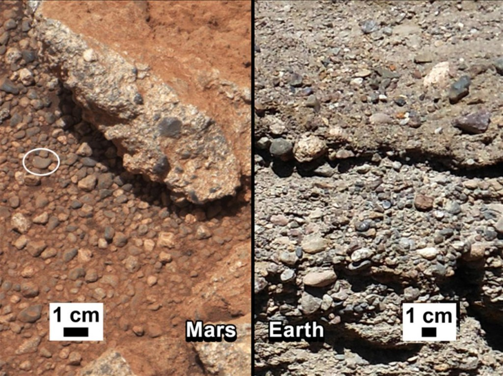 Προεξοχές Βράχων στον Άρη και τη Γη