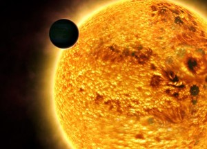 planet in front of a star