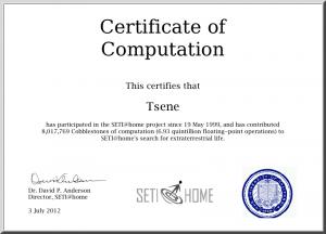 SETI@home Certificate of Computation